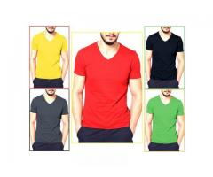 Pack Of 5 Plain Half Sleeves T-Shirts For Him