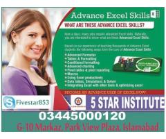 Advance Excel Professional Classes and Training with 5 Star Institute
