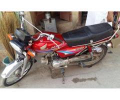 Honda Cd 70 Red color Model 2009 Genuine Condition For Sale in Multan
