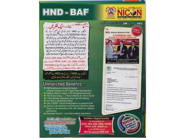 HND-BAF  (Business Accounting & Finance) Level 5 of Eexcel-UK.