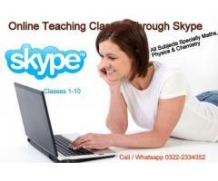 Online Teaching Classes of Matric through Skype, Call / Whatsapp 03222334352