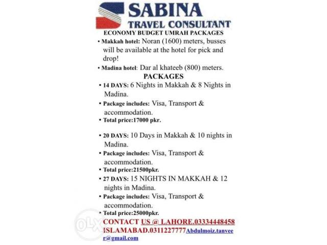 umrah special packages from SABINA TRAVEL CONSULTANT