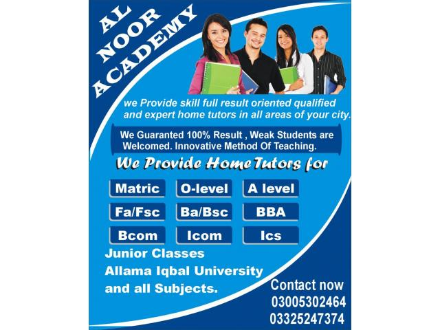 Male & Female Home Tutors From Class 1 To Master Levels