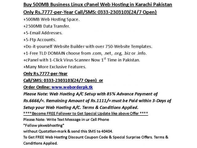 Buy 500MB Business Linux cPanel Web Hosting in Karachi Pakistan