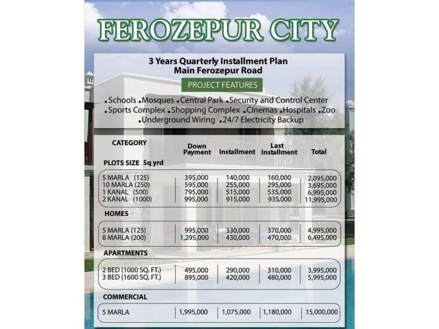 Ferozepur City Housing Scheme Lahore: Apartments in easy installment