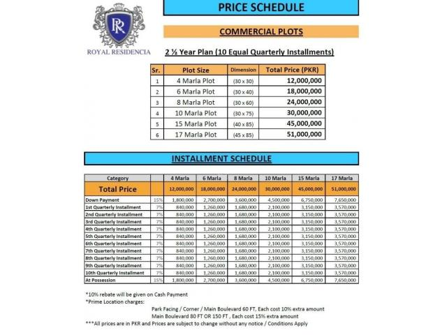 Royal Residencia Lahore Villas & Residential Plots Available On Installments