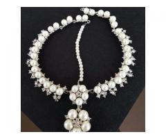Silver Plated Pearl Necklace with Matha Patti
