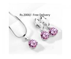 Silver Plated Zircon Set for sale in good package