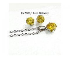 Silver Plated Zircon Set for sale in good price on This EID
