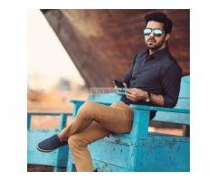 Dark Slate Blue Shirt & Camel Chinos For sale in good price on Eid