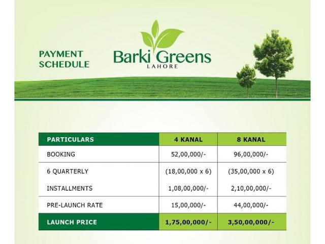 Barki Greens Lahore:  Farmhouse Land on easy installments