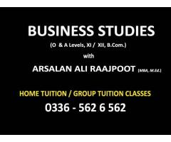 Business Studies for O & A Levels classes with ARSALAN RAAJPOOT