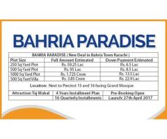 Bahria Paradise Karachi: Residential Plots Villas on easy installments