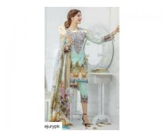 LAWN EMBROIDERY 3PC DRESS WITH FULLY EMBROIDERED FRONT