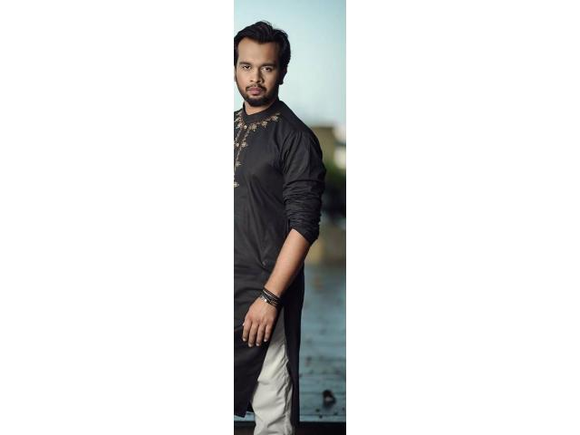 Premium Black Kurta Trouser/Shalwar made with stretchable Cotton for sale