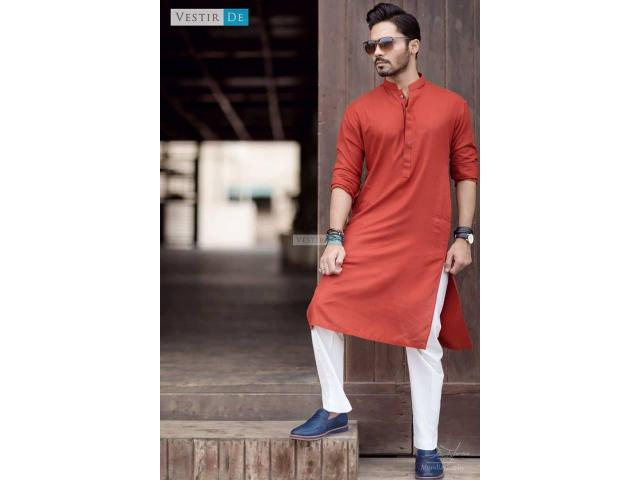 Shop our hot pick of the day Vestir De signature Kurta Orange Red for sale
