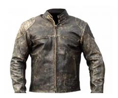 Mens Antique Black Retro Biker Distressed Leather Jacket season is coming