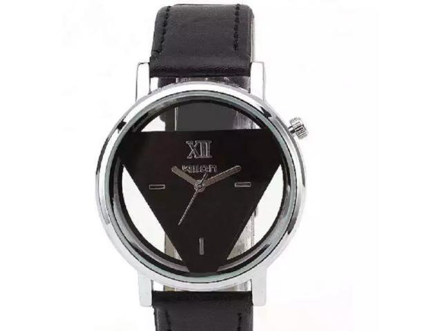Hollow Skeleton Delicate Triangle Wrist Watch with Leather Straps