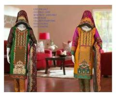 Qns brand of embroidered lawn unstitched suit fine embroidered