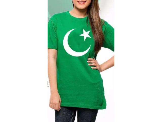 Women's Green Crescent & Star Printed T Shirt FOR sale