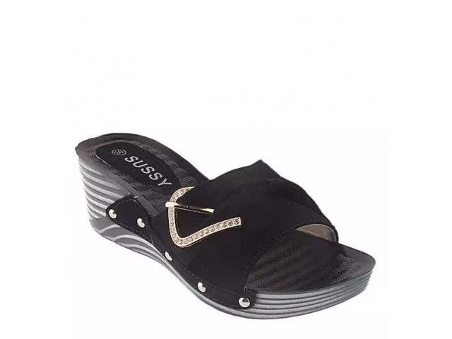 Black Suede Leather Wedge for Women - V1