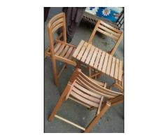 Beech folding 4 chairs with table