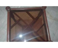 Stylish glass top wooden tables for sale in good amount