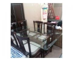 Glass top 6 Chairs n dining for sale
