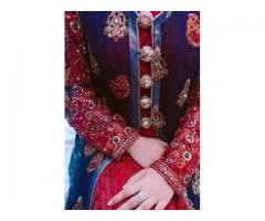 Red Maxi with blue gown fully stone work price negotiable for sale