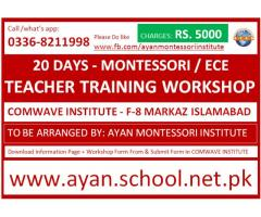 20 Days Montessori / ECE Teacher Training Workshop in F-8 Islamabad