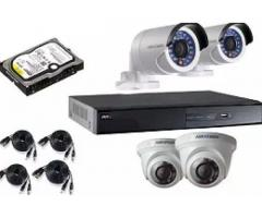 4 cctv Hikvision cameras with dvr for sale