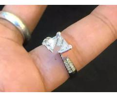 4 carat diamond style silver sterling ring solitaire style for sale