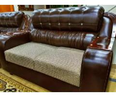 Brown leather sofa 2 months used 6 seater Marvellous for sale