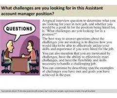 Assistant account manager job for you man
