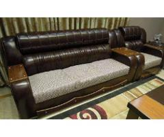 Dark Brown Leather Sofa Set for sale