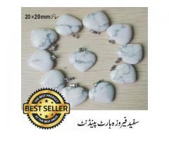 White Turquoise Gem Stone Heart  Pendent