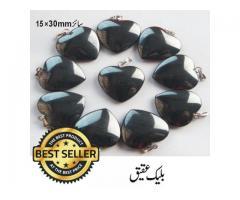 Black Agate Shine Heart Gem Stone  Pendant ( سیاہ عقیق )
