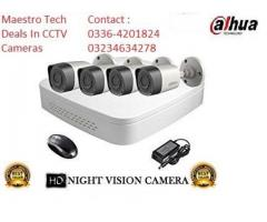 4 HD Dahua Brand CCTV Cameras Complete Setup with Installation