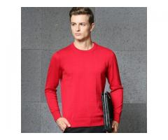 Winter Mens Fashion O-Neck Knitting Plain 100% Cotton Pullover Sweater