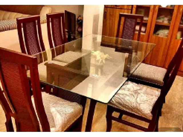Six 6 Seater Dining with double glass 1 month used for sale
