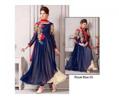 Code# Royal Blue 03 - FULL EMBROIDERED COMPLETE 3 PIECE SUIT
