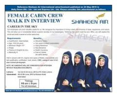 Female Staff Requried For Cabin Crew, Airlines of Pakistan.  In Karachi