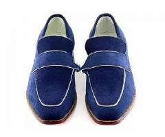 Blue Slip on Loafer Custom Hand Made Leather Shoes