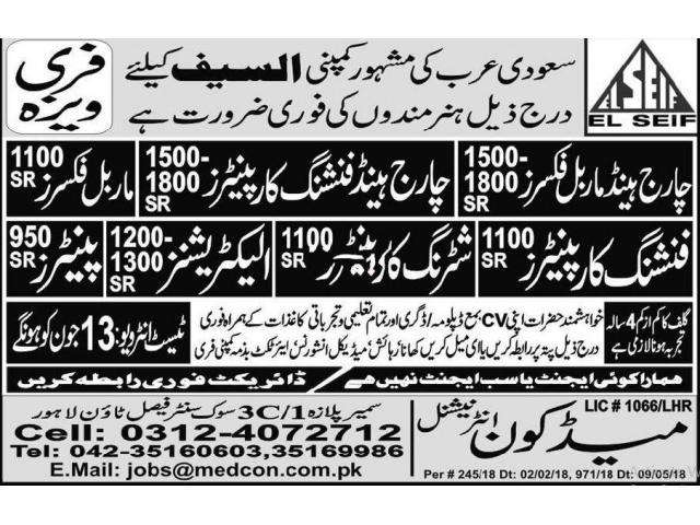 Charge Hand Marble Fixers, Charge Hand Carpenters Wanted job Saudia