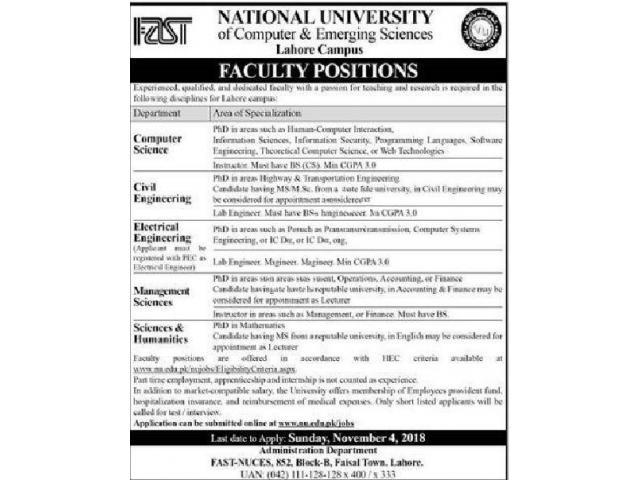 National University of Computer & Emerging Professor Jobs