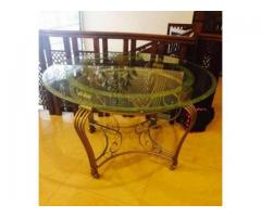 Dining Table Round Glass Good Condition For Sale In Karachi