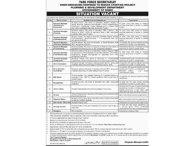 Task Force Secretariat Sindh Jobs 2018 Assistant Managers