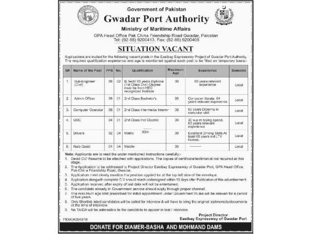 d0158868584a7 Gwadar Port Authority Ministry of Maritime Affairs Jobs 2019 Apply ...