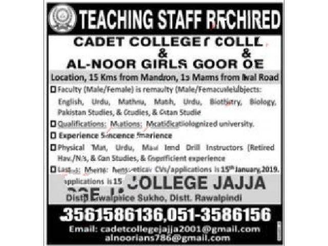 English Teacher Jobs at Cadet College Jajja Apply Now Rawalpindi