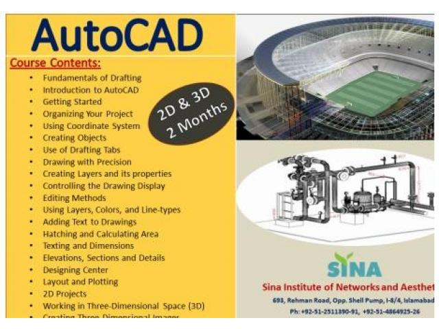 AutoCAD Classes Through SINA Institute In Islamabad